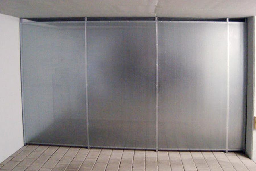 Lochblechtrennwand Magna Seitenansicht ohne Türe